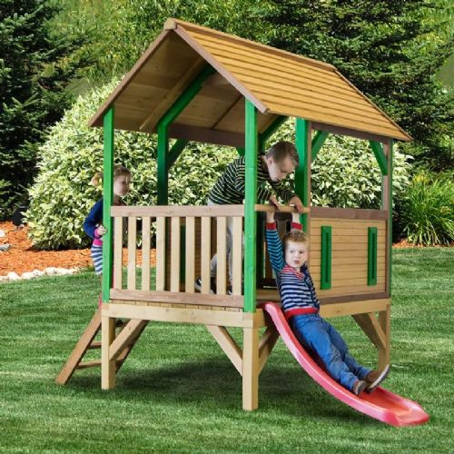 Jungle Outpost Wooden Playhouse With Slide